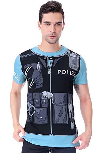 COSAVOROCK Disfraz de Policía para Hombre Camiseta Estampado (XL, Col