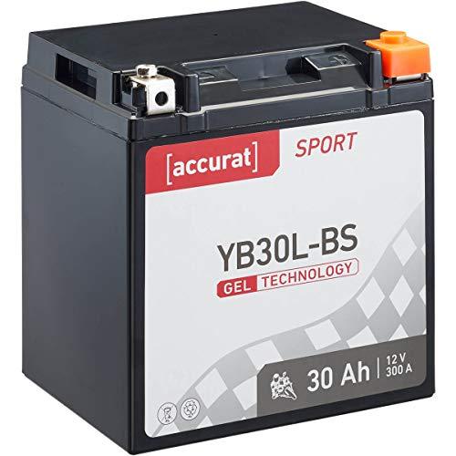 Accurat Motorradbatterie Sport YB30L-BS 30 Ah 300 A 12V Gel Technologie Starterbatterie in Erstausrüsterqualität zyklenfest sicher lagerfähig wartungsfrei