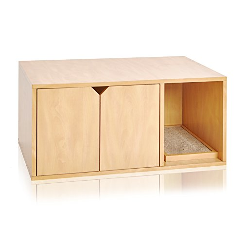 Way Basics Eco Cat Litter Box Enclosure Modern Cat Furniture (Tool-Free Assembly and Uniquely Crafted from Sustainable Non Toxic zBoard Paperboard), Natural