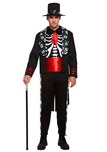 Emmas Wardrobe Tag der Toten mexikanischen Outfit - Mit Skeleton Top, Hut, Gürtel Jacke und Hose - Steampunk Kostüm für Halloween oder Parades - hochwertige Materialien - UK Größen M L XL (Medium)