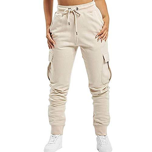 Puimentiua Femme Pantalon Cargo Sport Jogging Stretch Pantalon de Survêtement Taille Haute avec Poches Latérales Grande Capacité