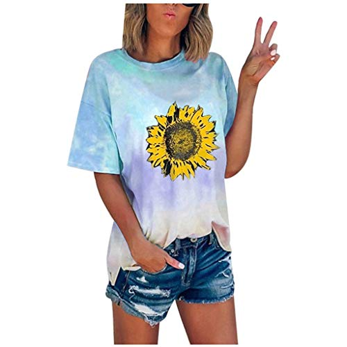 JUTOO Damen Sommer Sonnenblume Tie-Dye Kurzarm T-Shirt mit Rundhalsausschnitt Casual T-Shirts(Himmelblau,M)