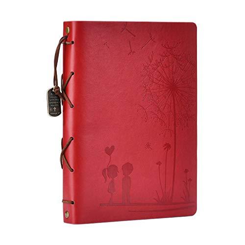 Álbum de recortes fotos, Amor Memoria Libro de visitas Libro de bocetos Páginas negras Álbum de recortes Regalo único para cumpleaños de aniversario de San Valentín (rojo, S)