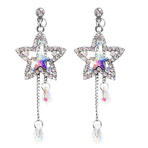Ruby569y Pendientes colgantes para mujeres y niñas, pendientes de tuerca largos con incrustaciones de diamantes de imitación brillantes de estrella, pendientes de tuerca - plata