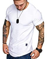 Fashion Mens T Shirt Muscle Gym Workout Athletic Shirt Cotton Tee Shirt Top White