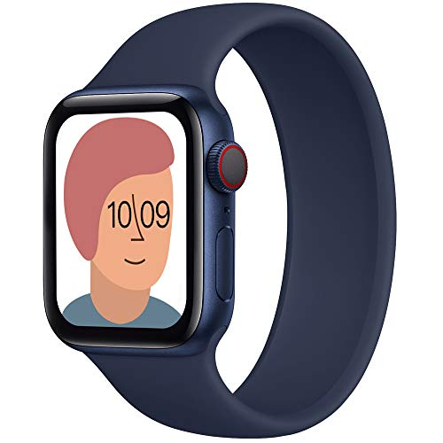 AUNDYYU Solo Loop Cinturino Compatibile con Apple Watch 38mm 40mm 42mm 44mm per iWatch Series 6 SE 5 4 3 2 1, Silicone Sport Elastico Gomma Senza Fibbia Bottoni Estensibile, 42/44mm #09 Deep navy1