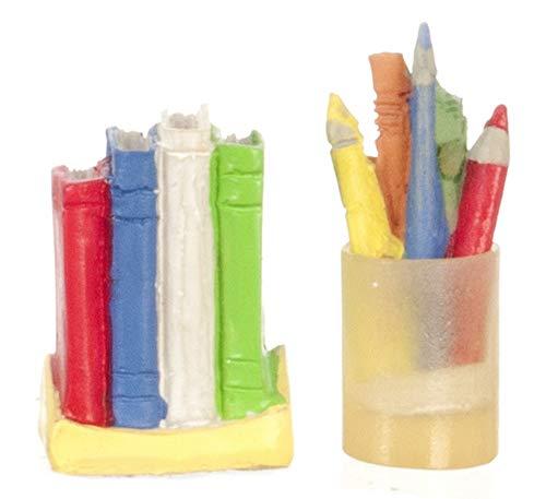 Melody Jane Maison de Poupées Miniature Bureau Moderne École Bureau Accessoire Set Livres Crayon Pot