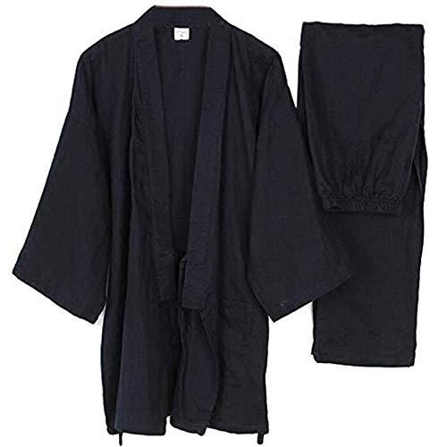Trajes de Estilo japonés para Hombre Sueltos de algodón Puro Kimono Pijama Traje Negro
