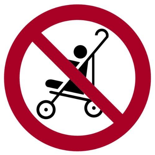 LEMAX® Aufkleber Kinderwagen auf der Rolltreppe verboten nach DIN EN 115 50mm