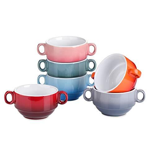 LOVECASA Juego de Cuencos de Cerámica, 6 piezas Tazones de Consomã Taza Desayuno Tazón para Sopa con Asas 400ML 6 Colores