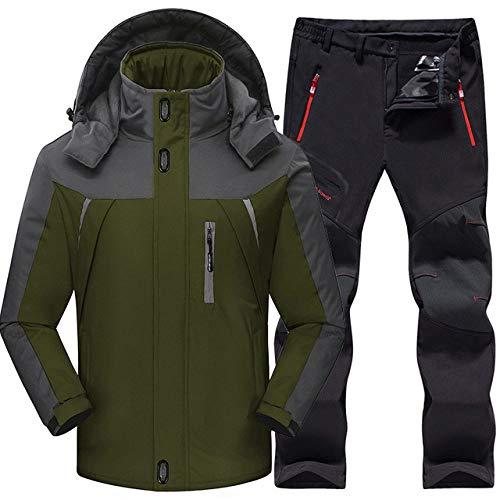 AXIANNV Outdoor Skianzug Herren, Winddicht Wasserdicht Thermo Snowboard Schnee Skifahren, Armee Grün, 5XL