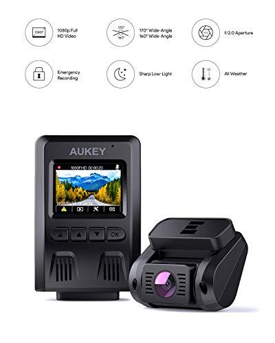 AUKEY 1080p Dashcam Vorne und Hinten【Verbesserter Sensor】Autokamera mit 170 Grad Weitwinkel, Superkondensator, WDR Nachtsicht Kamera für Auto mit G-Sensor, Bewegungserkennung, Loop-Aufnahme - 3