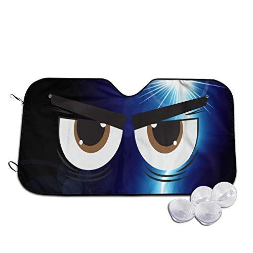 A10U-ZYZ Windshield Sun Shade Angry Cartoon Eyes Funny Visor Car Sunshade Universal 51.2x27.5 Inch,55x30 Inch for Cars SUV Truck,Block The Sun,Protects Interior Cool