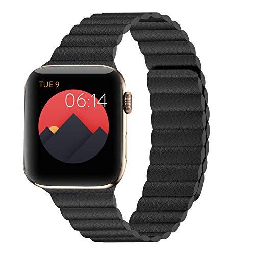I.N.I Kompatibel mit Apple Watch Band 44 mm 42 mm 40 mm 38 mm – verbessertes, verstellbares Lederband mit Magnetverschluss-System für iWatch Serie 5/4/3/2/1, onyx, 44MM/42MM