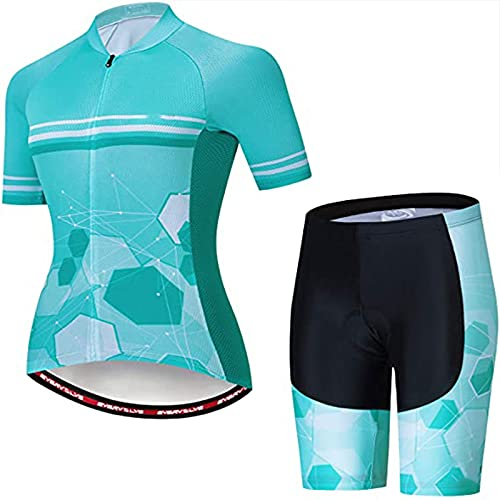 LDX Conjunto de Maillot de Ciclismo para Mujer, Ropa De Ciclo for Mujer, Traje De Ciclo for Mujer con 3 Bolsillos Traseros, Tira Reflectante (Color : C, Size : XL)
