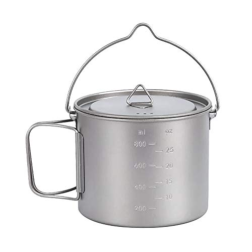 Lixada 1100ml/2800ml Titanium Pot Ultralight Portable Hanging Pot with Lid and Foldable Handle Outdoor Camping Hiking Backpacking (1100ml)