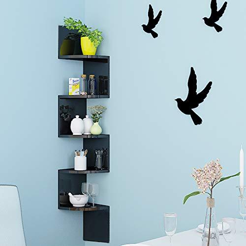 Turefans Estanterías Librería de Pared Estantería de Esquina Juego de 5 Estantes para Libros,123 * 20 * 20 cm (Negro)