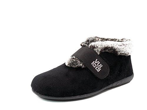 Zapatilla Mujer Tipo Bota Marca VUL LADI de casa Invierno en Tejido Alaska Color Negro,...