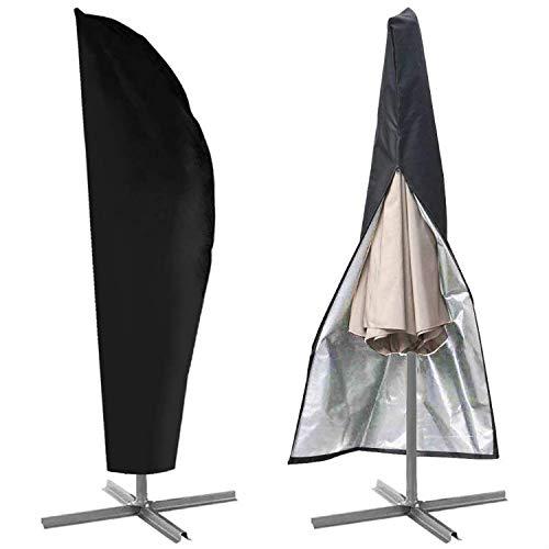 Sonnenschirm Schutzhülle, Ampelschirm Schutzhülle, Sonnenschirm Abdeckung mit Reißverschluss 210D-Oxford-Gewebe für 2 bis 4 m Große, Wetterfeste, UV-Anti, Winddicht und Schneesiche (280 x 30 x 46cm)