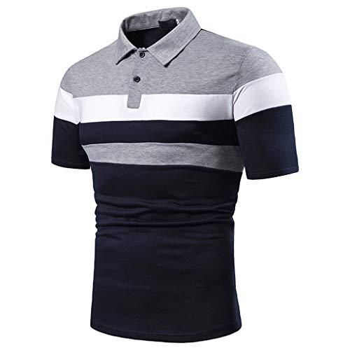 Yowablo Herren Poloshirt Polo Polohemd Kurzarmshirt Shirt Basic Lässiges, schmales Kurzarm-Patchwork (S,1Grau)