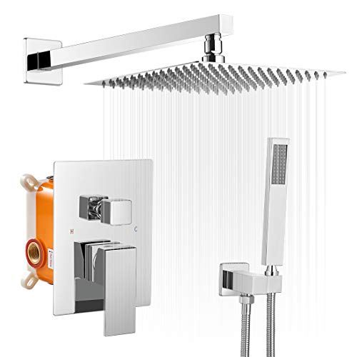 Shower System Rainfall Shower Head 10 Inch Chrome with Handheld Spray Mixer Wall Mounted Bathroom Combo Set Rough-in Valve Body Trim Included