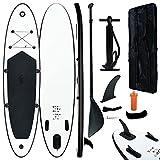vidaXL Juego de Tabla de Paddle Surf Hinchable Inflable Portátil Deporte Viaje Piscina Lago Bomba Manual Estable Duradero Negro y Blanco