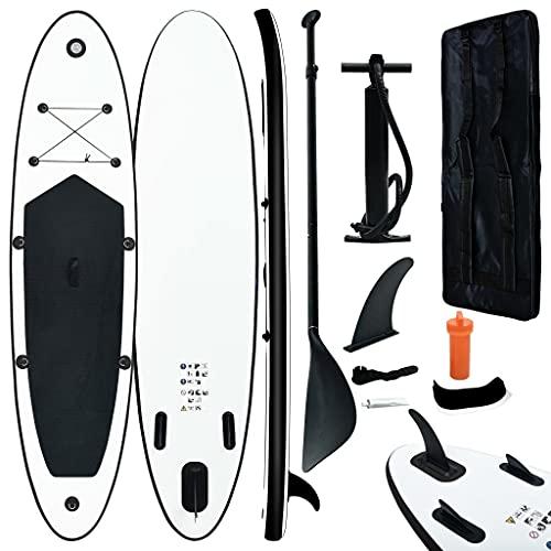vidaXL Juego de Tabla de Paddle Surf Hinchable Inflable Portátil Deporte Viaje Piscina Lago Bomba Manual Duradero Estable Negro y Blanco