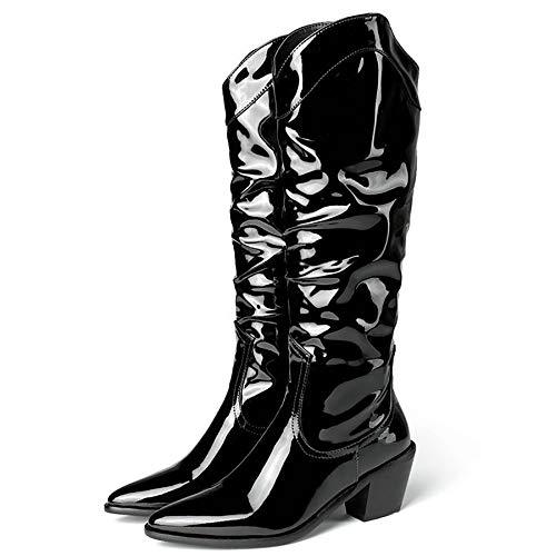 XLanY Frauen Mode-Lackleder Lange Reitstiefel, wasserdichter spitzer Zehe Slip-On-hohe Schuhe, Damen-Winter-Leder-plissierter Reißverschluss Mid Heel-Kurze Booties,Schwarz,46