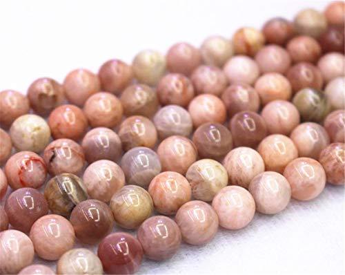 Lot de 37 perles rondes en pierre de lune 4 mm 6 mm 8 mm 10 mm 12 mm