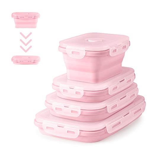 Virklyee® 4Pcs Silikon zusammenklappbaren Container Faltbare Frischhalteboxen Brotdosen aus Silikon Faltbare Silikon Brotbox Faltbare Silikon Vorratsdosen-Sets tragen frischhaltedosen Set (Rosa)