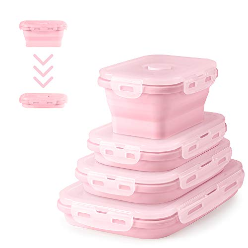Virklyee® 4 Pcs Recipientes de Silicona Plegable Fiambrera de Silicona Plegable de Silicona Recipientes para Alimentos Contenedores de Almacenaje de Silicona Plegable Ahorro de Espacio
