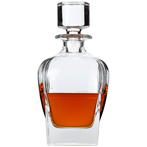 Lily's Home Wine, Liquor and Whiskey Decanter with Glass Stopper, Let Your Favorite Vintages Breathe with this Beautifully Stylish and Functional Piece (25 Ounces)