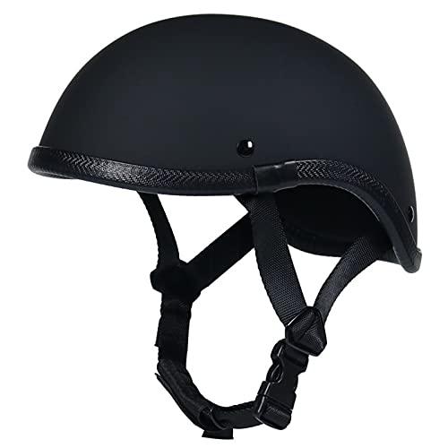 Casco retro para motocicleta, medio casco, certificado por DOT, casco abierto, gorra de calavera, casco de motocicleta, scooter, ciclomotor, helicóptero, crucero, ATV, negro mate ( Size : M(57-58CM) )