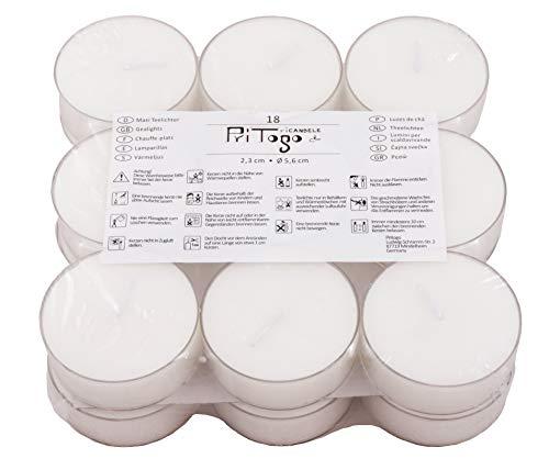 Pritogo Maxi velas de té XXL con funda de plástico, [18 unidades] diámetro 5,8 x 2,2 cm, blanco sin aroma (18 unidades)