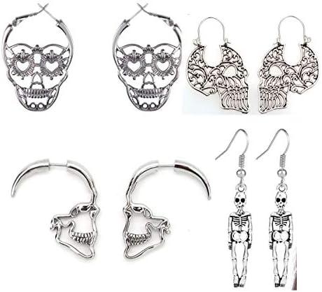 4 Pairs Halloween Skull Skeleton Earrings Hollow Skull Face Hoop Stud Earrings Punk Style Gothic product image