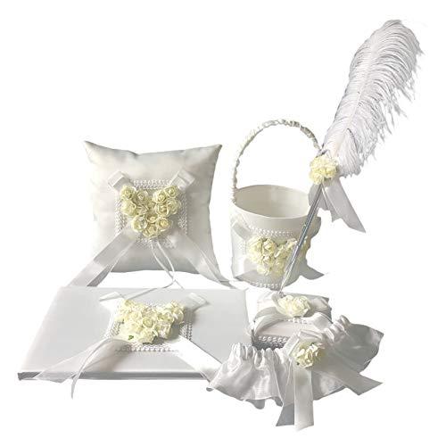 freneci Romantische Satin Hochzeitszeremonie Blumenmädchen Korb, Gästebuch & Stift, Kissen - Gelb