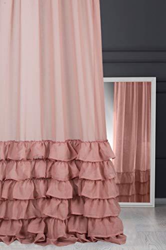 Eurofirany Vorhang Glatt Volant Puder Rosa Transparent Kräuselband 140x270 cm Gardinen Durchsichtig Edel Elegant Hochwertig Glamour Schlafzimmer Wohnzimmer Lounge, 140X250cm