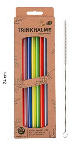 Cannucce di alta qualità, 20 pezzi, 24 cm, made in Germany, riutilizzabili e lavabili in lavastoviglie, con spazzola per la pulizia, ideali anche per bambini (multicolore, 24)