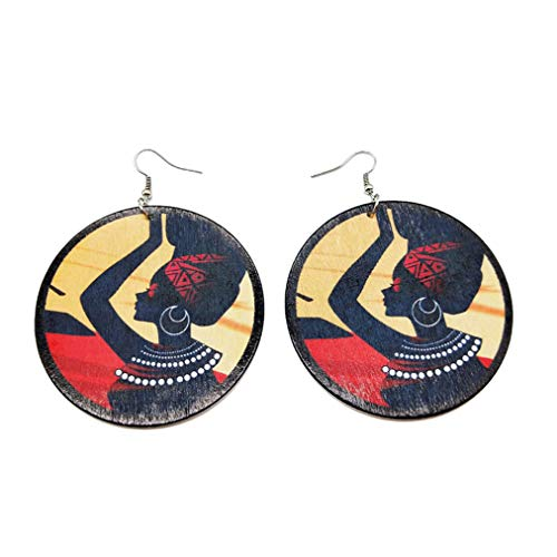 Sevenfly DIY Printing African Woman Personalized Wooden Earrings For Girls Woman Jewelry Accessories,Style 1