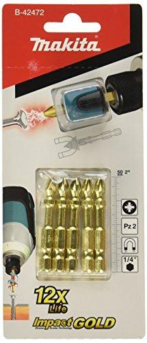 Makita B-42472 - Blíster de 5 puntas PZ2 Impact Gold + Mag Boost
