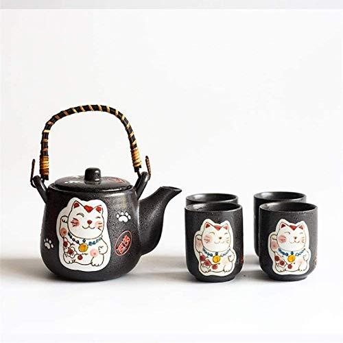 JY&WIN Juego de Tetera de cerámica Lucky Cat Pattern Glaze Tetera de Estilo japonés con Mango y Servicio de Juego de Tazas de té, B
