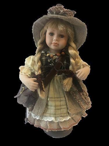 Faelens Porzellan-Puppe mit Tasche und Hut, 30 cm, Holzständer
