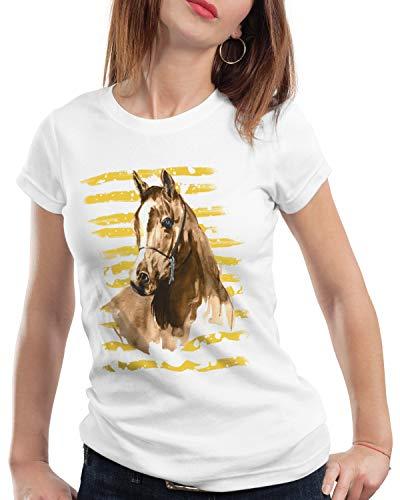 CottonCloud Vacaciones de Equitación Camiseta para Mujer T-Shirt Caballos Granja halcón marrón