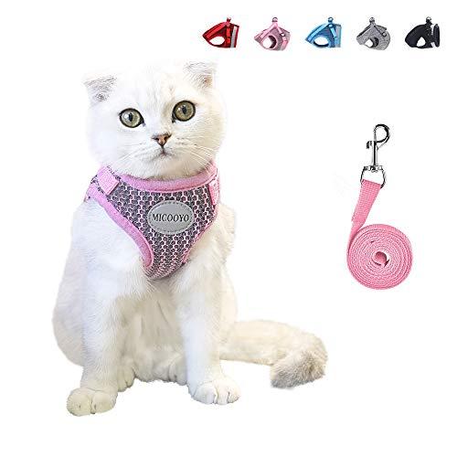 MICOOYO Katzengeschirr,Katzengeschirr und Leine Set,Katzengeschirr Ausbruchsicher,Katze Geschirr,Kleine Katze und Hunde Geschirr Pufferwirkung und Fluchtwiderstand (M (Brustumfang: 35-40cm), Pink)