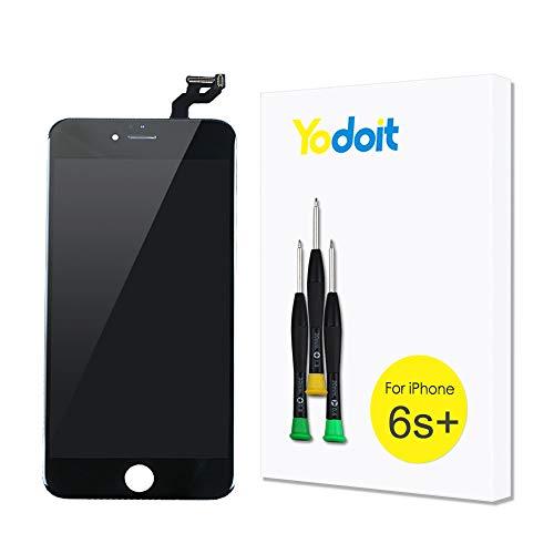 Yodoit Pantalla para iPhone 6s Plus Negro, 5.5'' Retina Display, Táctil LCD de Repuesto Ensamblaje de Marco Digitalizador Contiene Herramientas + película de Vidrio Templado