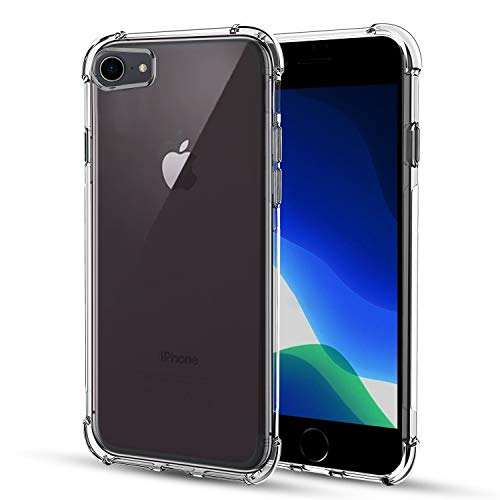 TGOOD Case for Apple iPhone SE 2020, iPhone 8, iPhone 7, Shock-Absorption Bumper Cover, Anti-Scratch Crystal Clear Back, Ultra Slim Soft Silicone TPU iPhone 7/8/SE 2020 Phone Case 4.7 inch, HD Clear