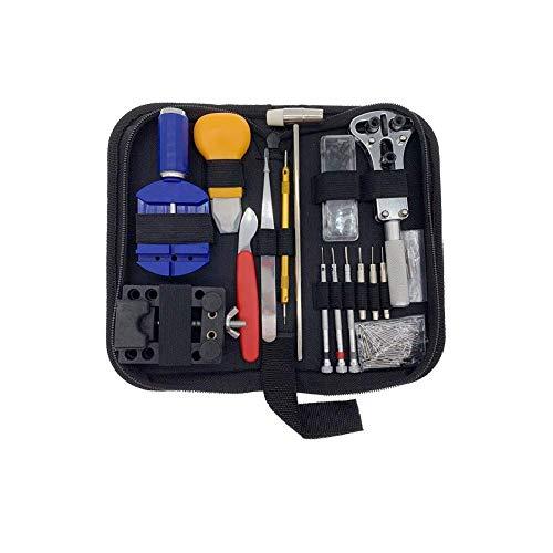 Kit de reparación de relojes, MEETOZ 147 herramientas de reparación de relojes, juego de herramientas de reparación de relojes, juego de herramientas de reparación de relojes, con funda de transporte