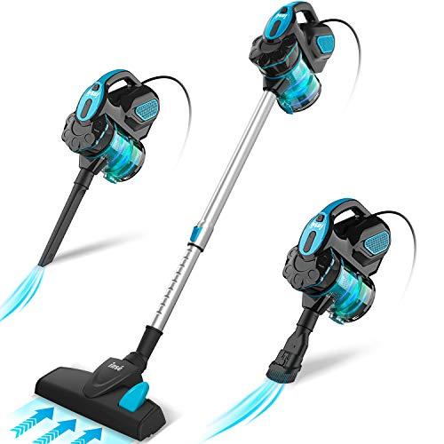 INSE Aspirador con Cable, 3 En 1 Vertical y de Mano, Hogar Escopa Aspiradora, Poderosa Succión 18Kpa, 600W, 1L, Hepa Filtro Lavable, 3 Cepillos Ajustable [Clase de Eficiencia Energética A+] (Azul)
