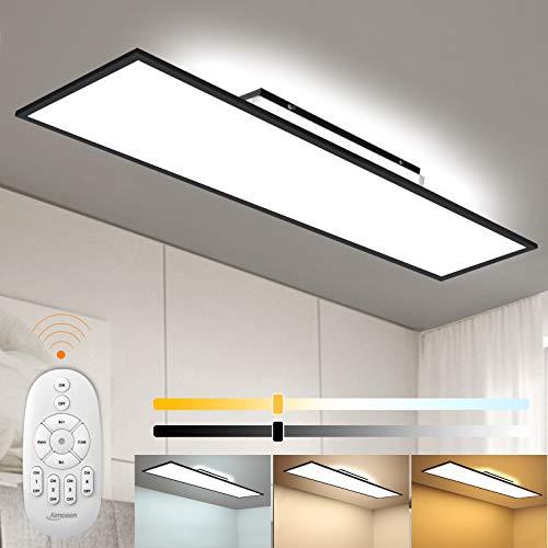 Dimmbar LED Deckenleuchte Panel 120x30 cm mit Fernbedienung, 55W Deckenlampe mit Backlight, Indirekter Starker Leuchtkraft Licht, Warm Natur Kalt Weiß Werkstattlampe Bürolampe Garage Wohnzimmer Lampe