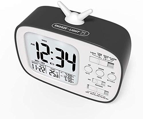 Reloj despertador digital LED con pantalla LED con sensor de luz, modo de atenuación ajustable, 2 puertos de carga USB, función de repetición de botón para dormitorio, sala de estar